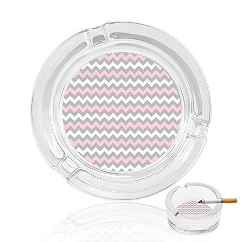 Chevron - Posacenere in vetro per sigarette, cuscino rosa, grigio e bianco, per interni, esterni, casa, ufficio, scrivania, decorazione da tavolo