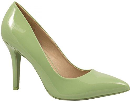 Elara Spitz Damen Pumps Stiletto High Heels chunkyrayan JA70-Gruen-39