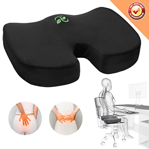 Coccyx Seat Cushion Orthopedic Memory Foam Car Seat Cushion Comfort Chair Tailbone Pillow Non-Slip Hip Back Sciatica Pain Pressure Relief Seat Cushion Office Pregnancy Travel Sit (Black Seat Cushion)