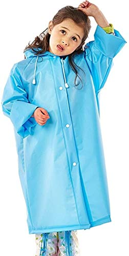Outdoor regenjas, for kinderen met een kap stevige doorzichtige poncho (Color : Blue, Size : X-Large)