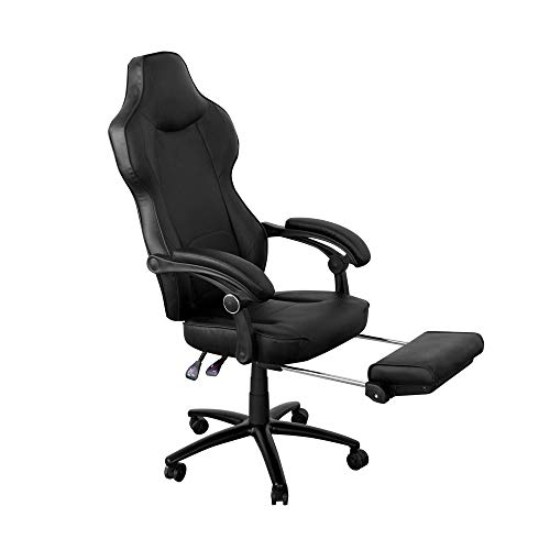 Kimrace Gaming Chair Racing Office Ergonomic Computer Chair with Reclining Back and Slide-Out Footrest in Black LeatherSoft
