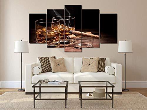 EIWOP Home Decor Canvas Wall Art Moderne sigaar en wijn schilderij glas wijn Whiskey Picture Print Sigarettenposter 5 panelen drank 20X35 20X45 20X55cm With Frame
