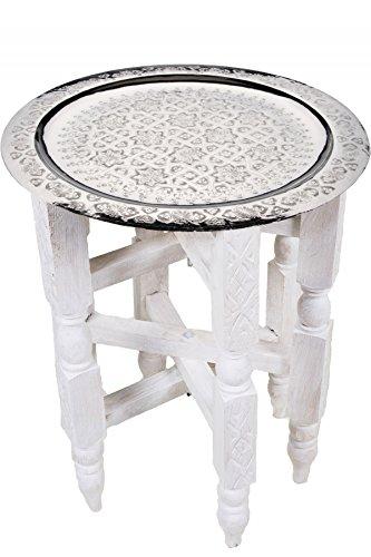 Marrakesch Oosterse Mediterrane Interior Oosterse tafel bijzettafel theetafel Gulalai - zilverkleurig 40cm