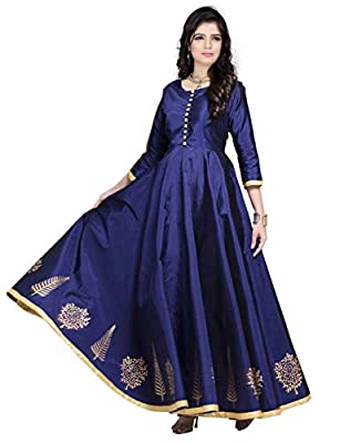 Red Lion Enterprise Women's Latest Design_Semi Stitched Silk Anarkali_Party Wear Gown for all types of function(Free size)