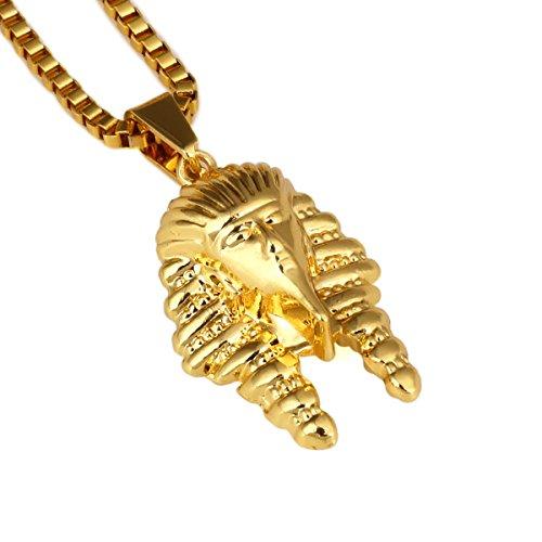NYUK Herren Hip Hop 18K Real Gold Vergoldet Anhänger Halskette King Pharao Beliebtes Kette