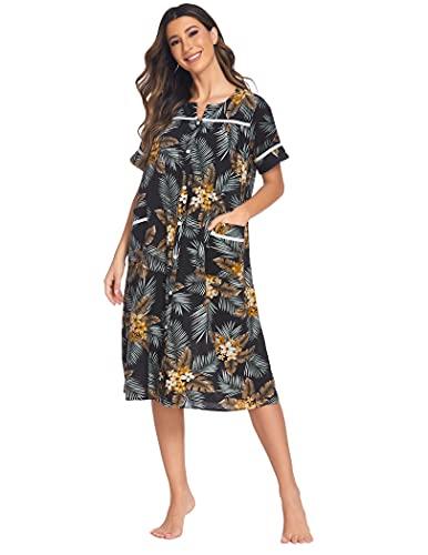 Ekouaer Women's Striped Sleepwear Button Down Duster Short Sleeve House Dress Nightgown S-XXL
