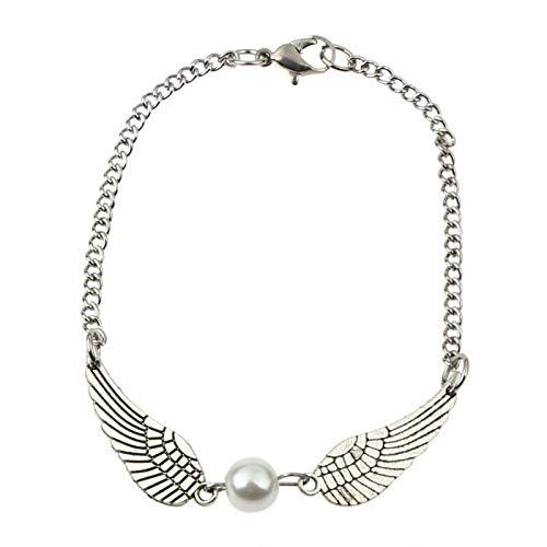 Hamado Damen Harry Silber Armband Armreif Armschmuck Engel Flügel Perle Kette Potter