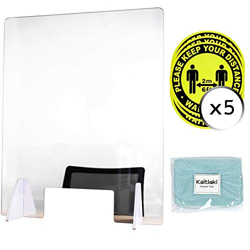Portable Sneeze Guard, Made of 1/5 inch thick Acrylic Plexiglass, Desk Employee Protection Shield for Grocery Stores, Retail Counter or any Reception Area, Easy Assembly, 24' W x 32' T, Set of 1