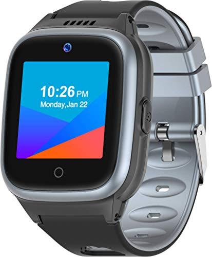 Montre intelligente 4G pour enfants avec traceur GPS, montre téléphone étanche avec appels vidéo/podomètre/SOS/mode classe/réveil/appareil photo/anti-perte pour filles et garçons de 3 à 12 ans (Noir)