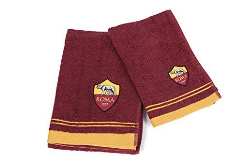 AS Roma 8907 020 2140 Set Asciugamano e Ospite in Spugna, 100% Cotone, Giallo/Rosso, 100x60x1 cm