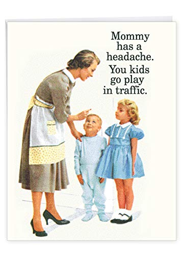 Play in Traffic - Vintage Happy Mother's Day Card with Envelope (Extra Large 8.5 x 11 Inch) - Sarcastic Mother Day Greeting Card from Kids - Funny Stationery Appreciation Notecard J7203MDG