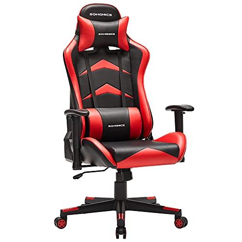 SONGMICS Fauteuil gamer, Chaise gaming, Siège de bureau ergonomique, accoudoirs réglables, dossier inclinable de 90° à 135°, assise inclinable, charge 150 kg, cadre en acier, Noir et Rouge RCG062B01