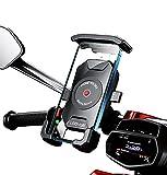 Soporte movil Moto Bici Bicicleta montaña sujecion al Manillar y 4 Brazos en Aluminio Compatible con telefonos moviles de hasta 7.5' Proteccion Total para Smartphone Soporte móvil Moto Bicicleta