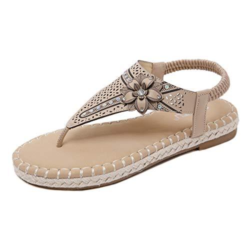 Sandalias clásicas y de Moda para Mujer con pedrería de Flores y diseño Hueco Chancletas Suela de cáñamo Tejida Suave y cómoda Banda elástica Zapatos Planos Verano