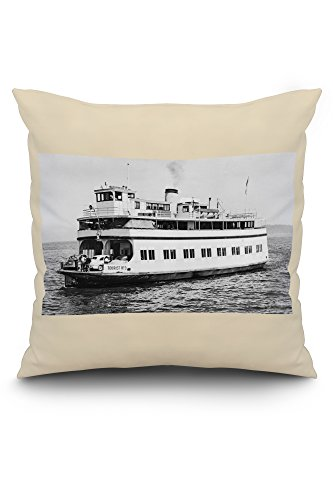 Astoria, Oregon View of Ferry Astoria Photograph (20x20 Spun Polyester Pillow Case, White Border)