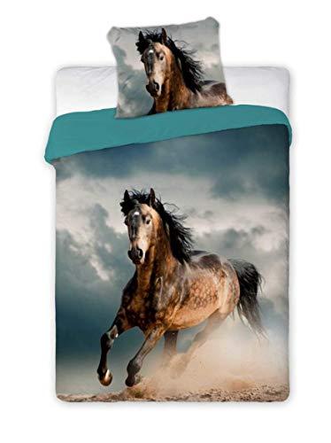 Horse Best Friends beddengoed voor kinderen, beddengoed, paard kussensloop, 2 delen: kussensloop en dekbedovertrek: Katoen - leuk cadeau voor jongens en meisjes