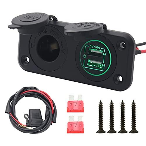 Akozon Cargador de coche, Carga rápida del interruptor del tacto del cargador del USB de 5V 4.8A con enchufe hembra para encendedor de cigarrillos de 3,3 pies Luz verde del cable de alimentación