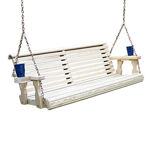 Amish Heavy Duty 800 Lb Roll Back Treated Porch Swing with Hanging Chains and Cupholders (5 Foot, Unfinished)