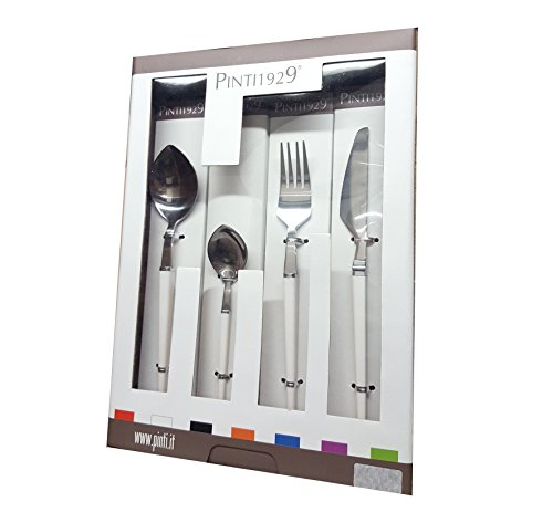 Pintinox Servizio di Posate da tavola 24 Pezzi in acciao Inox Modello Freccia Bianca