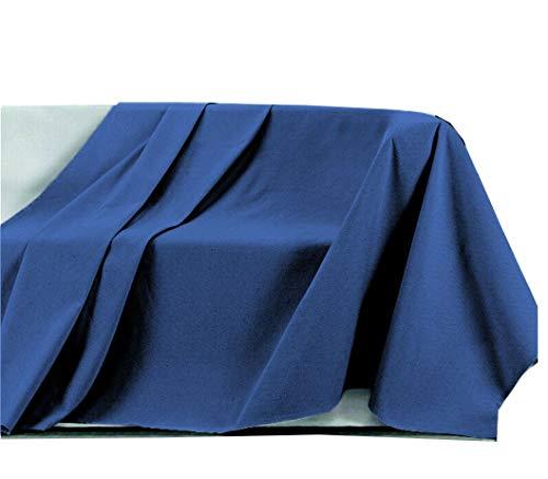 Centesimo Web Shop Telo ARREDO COPRITUTTO in 4 Misure - Prodotto in Italia Gran Foulard Multiuso Telo Tuttofare COPRIDIVANO COPRIPOLTRONA Tinta Unita - 160x290 cm Blu