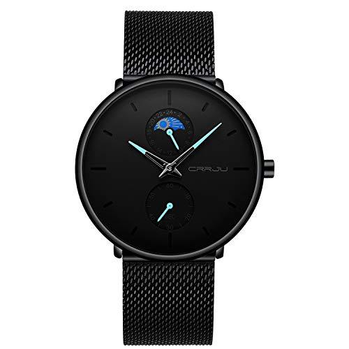 Reloj para Hombre Negro Clásico Minimalista Cuarzo Analógico Relojes de Pulsera Impermeable Casual Moda con Correa de Acero Inoxidable-Puntero Azul