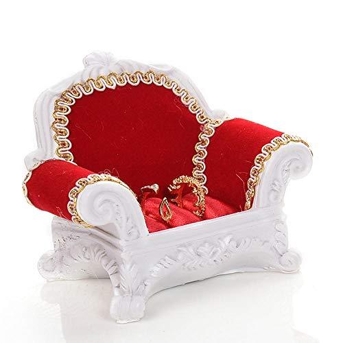 Sofá Anillo Asiento Joyería Estante Caja De Almacenamiento Pendientes Pendientes Collar Joyería Estante Accesorios De Exhibición-Sofá Pequeño Rojo Y Blanco