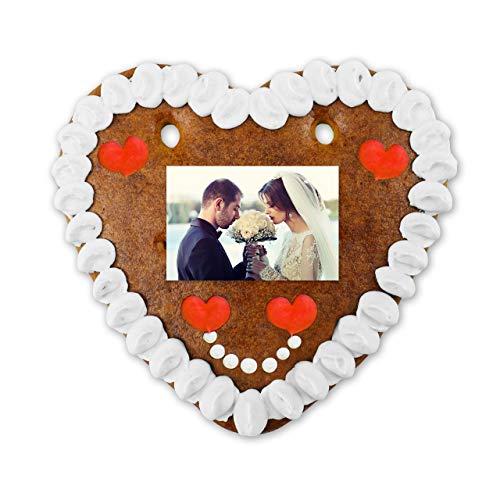 Lebkuchen Herz mit individuellem Foto zur Hochzeit gestalten-für Braut & Bräutigam - HERZ-liches Geschenk - jetzt online konfigurieren - personalisierbare Lebkuchen-Geschenke