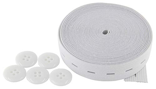 Flat Sewing Band Spool with Buttonholes, Elastic Stretchable, Ideal for DIY Waistbands and Necklines (White, 3/4 inch × 5 Yards)