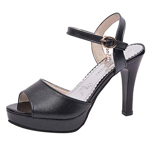 KERULA Damen Basic Pumps mit Blockabsatz Plateau Vorne Klassische Pfennigabsatz Flandell Plateaupumps Sexy Damen-Schuhe runder Zehenpartie und Schnürung hohem Absatz rutschfesten Sandalen