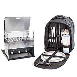 Picnic backpack with picnic grill