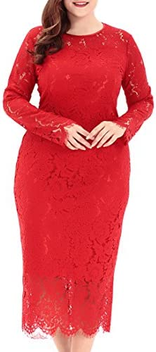 Eternatastic Women s Floral Lace Long Sleeve Plus Size Dress for Christmas Dress Red 5XL product image