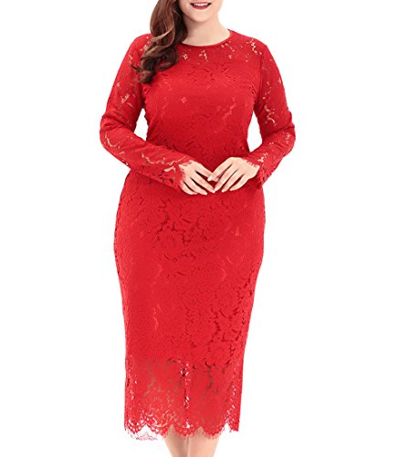 Eternatastic Women's Floral Lace Long Sleeve Plus Size Dress for Christmas Dress Red 3XL