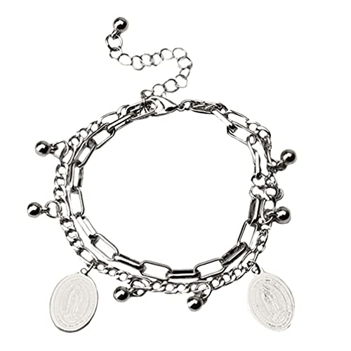 1pc Hip Hop cintura cadena delicada pulsera creativa muñeca joyería (plata)