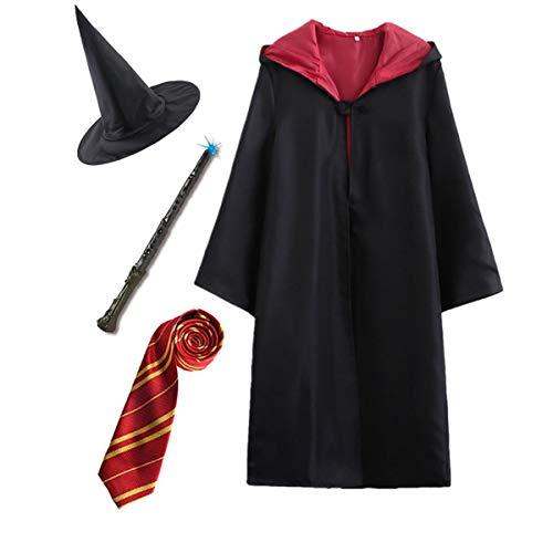 Kosplay Capa Disfraz de Harry Potter para niño Adulto Unisex - Gryffindor Cinereplicas Corbata Varita mágica Gafas Marco Bufanda Sombrero Camisa Traje para Carnaval Halloween Cosplay, 115-155 CM