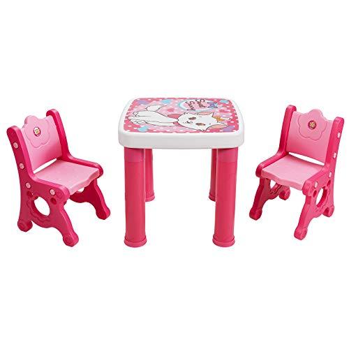 COSTWAY 3 TLG. Kindersitzgruppe, höhenverstellbarer Kindertisch mit 4 Schubladen, 2 Kinderstühlen mit Verstellbarer Sitzhöhe, Sitzgruppe Kinder zum Zeichnen, Lernen, Spielen und Essen (Rosa)