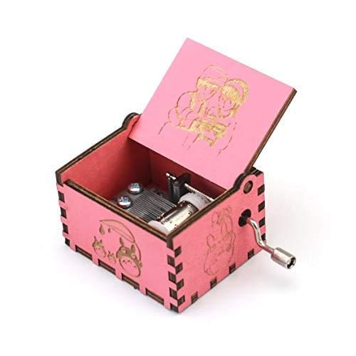 Boîte à musique en bois sculpté avec manivelle Motif château dans le ciel Rose