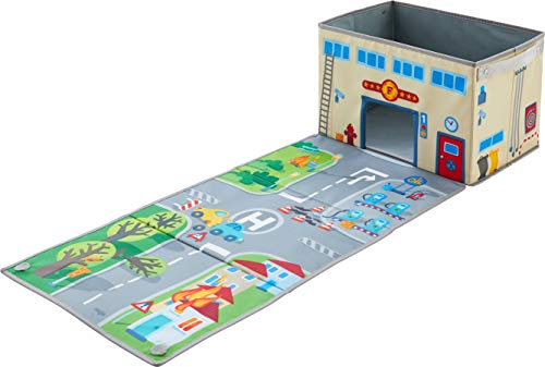 HABA 304208 - Aufbewahrungsbox Feuerwehr, Spielzeugkiste mit Feuerwehrmotiv, Deckel zum Aufklappen als Spielstraße, Maße: 26 x B 39 x H 24 cm