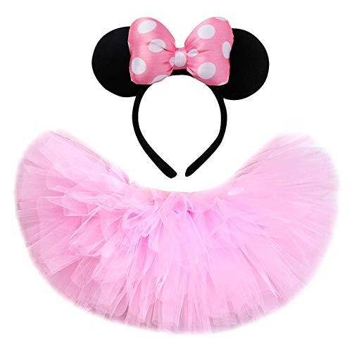 Pink Minnie Tutu Falda para niños pequeños Baby Girls Fluffy Tutus para la fiesta de cumpleaños Faldas de tul de la niña para niños Disfraz de Halloween ( Color : Skirt with Headband , Size : 5T )