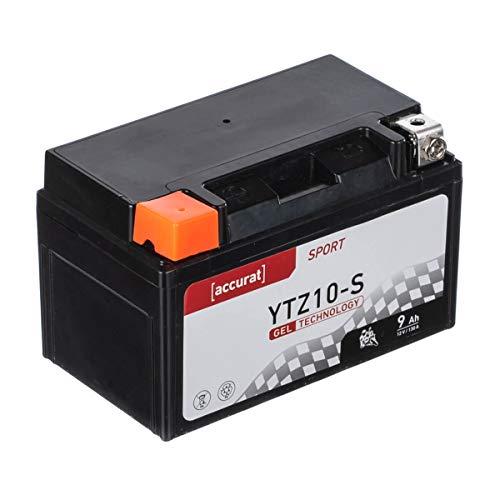 Accurat Motorradbatterie YTZ10-S 9Ah 130A 12V Gel Technologie Starterbatterie in Erstausrüsterqualität zyklenfest sicher lagerfähig wartungsfrei