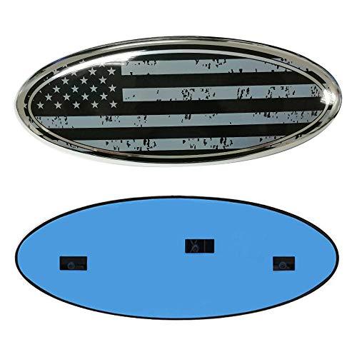 9inch Emblem for Ford, American Flag F150 Emblem Ford Front Grille Tailgate Emblem Oval 9'X3.5' Fits for 04-14 F250 F350, 11-14 Edge, 11-16 Explorer, 06-11 Ranger Black
