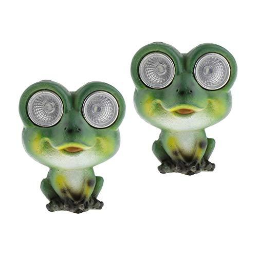 Amuzocity 2pcs Lámpara de Jardín con Energía Solar LED Frog Light Up Path Adorno Estatua