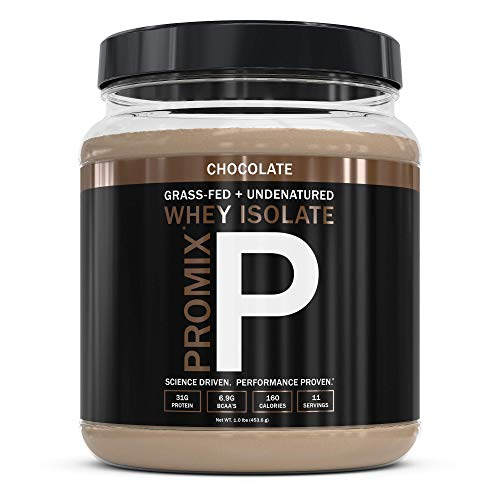 Native Grass Fed Whey Protein Isolate, Chocolate | 100% Optimum All Natural | Undenatured | Non-GMO + Gluten-Free + Soy-Free | Best for Fitness Nutrition Shakes | Energy Smoothie | 1lb | Promix Pure