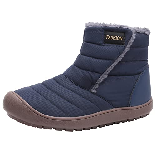 joyvio Damskie buty śniegowe Zimowe wodoodporne botki w górę Bawełna Ciepłe futrzane podszyte antypoślizgowe botki na platformie Outdoor (Color : Blue, Size : EU:39/US:8.5)