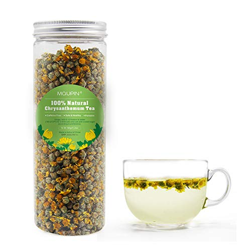 MQUPIN Chrysanthemum Tea, Sundried Natural Dried Flower Tea,Whole Herbal Flower, Mild Yellow Chrysanthemum Buds Tea 90g/3.2oz