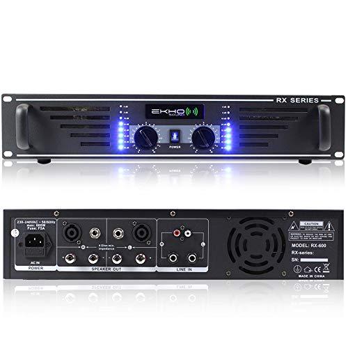 Ekho RX600 Power Amplifier DJ Disco PA System 19 Inch 2U Rack Mount Amp 600W