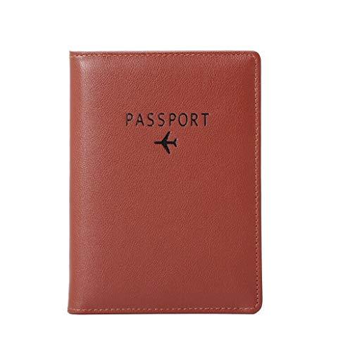 simpleSSパスポート本RFID盗難防止海外旅行用パスポートセット、高級PUレザーパッケージ、男女共通 (褐色)