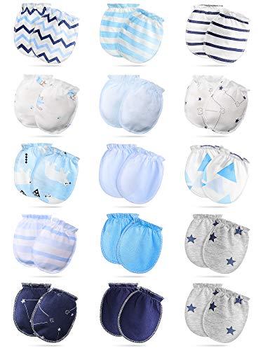 15 Pairs Baby Mittens Newborn Baby Unisex Gloves No Scratch Mittens for 0-6 Months Baby Boys Girls