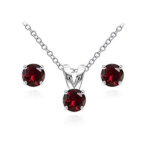 Sterling Silver Synthetic Ruby 5mm Round Solitaire Pendant Necklace and Stud Earrings Set for Teens