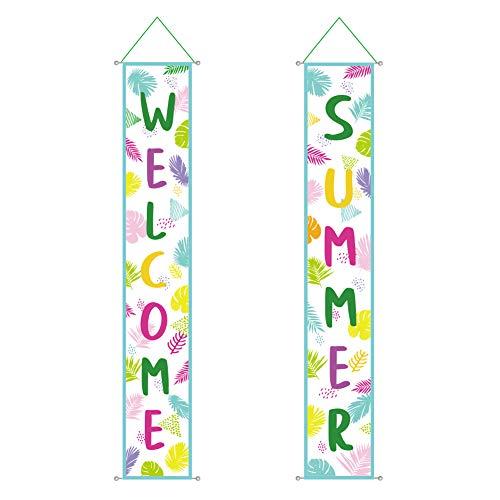 Banner de Verano Hello Summer Puerta Decorations Tropical Fiesta de Bienvenida en la Jungla Suministros para Fiestas Banners (Welcome)