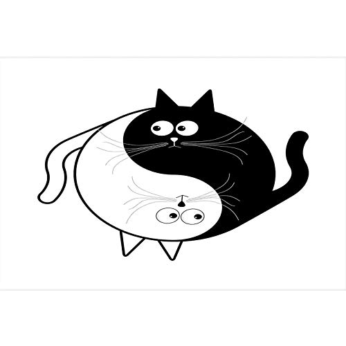 bybyhome Seabed World Backdrop Ying Yang,Cute Cats Cuddle Hugging Unity Ying Yang Sign Cartoon Animals Feng Shui,Black White Underwater Poster Fish Tank Wall Decorations Sticker L24 X H12 Inch